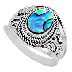 2.43cts natural green abalone paua seashell silver solitaire ring size 9 r57963