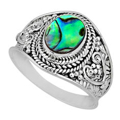2.68cts natural green abalone paua seashell silver solitaire ring size 9 r57964