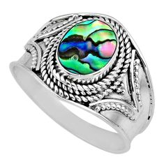 2.74cts natural green abalone paua seashell silver solitaire ring size 9 r57970
