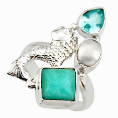 7.36cts natural green amazonite (hope stone) 925 silver fish ring size 8 d46028