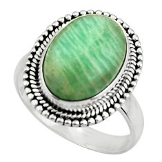 6.32cts natural green amazonite (hope stone) 925 silver ring size 7.5 r44717