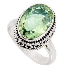 6.56cts natural green amethyst 925 silver solitaire ring jewelry size 8.5 r26302