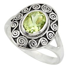 2.24cts natural green amethyst 925 silver solitaire ring jewelry size 8.5 r40990