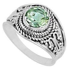 2.27cts natural green amethyst 925 silver solitaire ring jewelry size 7.5 r58066