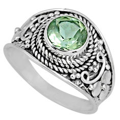 2.96cts natural green amethyst 925 silver solitaire ring jewelry size 7.5 r58525
