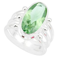 7.51cts natural green amethyst 925 silver solitaire ring jewelry size 6.5 r84999