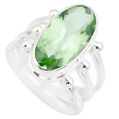 7.22cts natural green amethyst 925 silver solitaire ring jewelry size 6.5 r85001