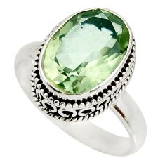 6.62cts natural green amethyst 925 silver solitaire ring jewelry size 10 r26303