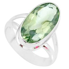 7.53cts natural green amethyst 925 silver solitaire ring jewelry size 6 r85009