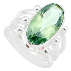 7.52cts natural green amethyst 925 silver solitaire ring jewelry size 6 r85010