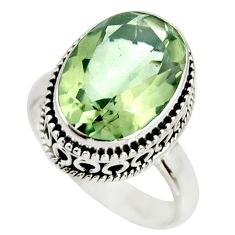 6.83cts natural green amethyst 925 silver solitaire ring jewelry size 7 r26301