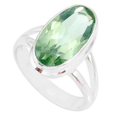 7.88cts natural green amethyst 925 silver solitaire ring jewelry size 7 r84993