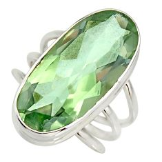 13.07cts natural green amethyst 925 silver solitaire ring jewelry size 8 r27113