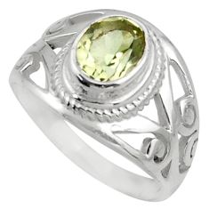 2.08cts natural green amethyst 925 silver solitaire ring jewelry size 8 r40911