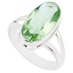 7.53cts natural green amethyst 925 silver solitaire ring jewelry size 8 r84991
