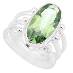 7.78cts natural green amethyst 925 silver solitaire ring jewelry size 8 r85013