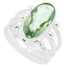 7.69cts natural green amethyst 925 silver solitaire ring jewelry size 8 r85017