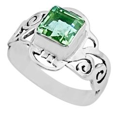 2.81cts natural green amethyst 925 silver solitaire ring jewelry size 9 r54422