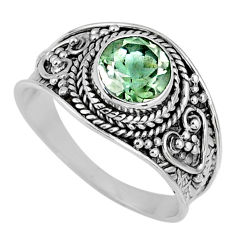 2.92cts natural green amethyst 925 silver solitaire ring jewelry size 9 r58528