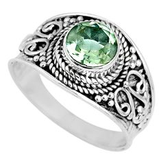 2.78cts natural green amethyst 925 silver solitaire ring jewelry size 9 r58529