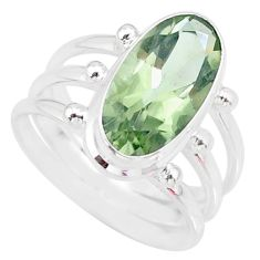 8.27cts natural green amethyst 925 silver solitaire ring jewelry size 9 r85011