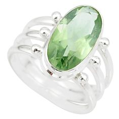 8.17cts natural green amethyst 925 silver solitaire ring jewelry size 9 r85020