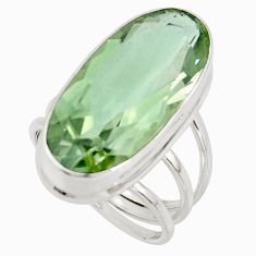 18.00cts natural green amethyst 925 sterling silver ring jewelry size 7.5 r42123