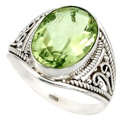 6.03cts natural green amethyst 925 sterling silver ring jewelry size 8.5 r42809