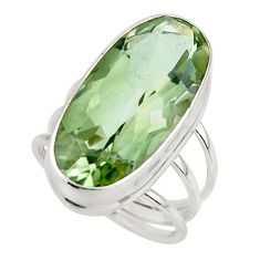 17.95cts natural green amethyst 925 sterling silver ring jewelry size 7 r42124