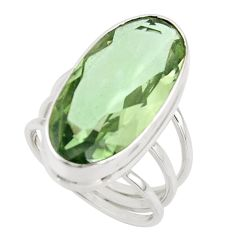 17.43cts natural green amethyst 925 sterling silver ring jewelry size 8 r42121