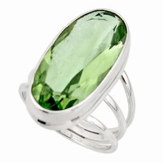 17.04cts natural green amethyst 925 sterling silver ring jewelry size 8 r42122