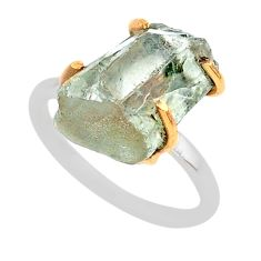 7.22cts natural green amethyst raw 925 silver 14k gold ring size 7 t47134