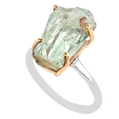 7.50cts natural green amethyst raw 925 silver 14k gold ring size 8 t47133