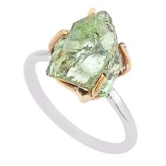 6.92cts natural green amethyst raw 925 silver 14k gold ring size 9 t47136
