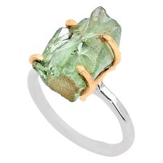 6.61cts natural green amethyst raw fancy silver 14k gold ring size 7 t47135
