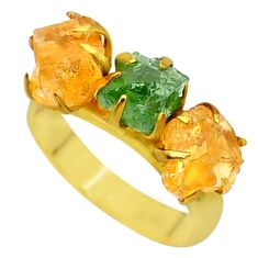 9.29cts natural green apatite (madagascar) 14k gold handmade ring size 7 t34982
