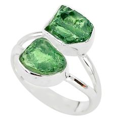 8.79cts natural green apatite (madagascar) fancy 925 silver ring size 7 t35020