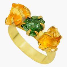 7.90cts natural green apatite (madagascar)14k gold ring size 7 t34981
