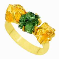 8.78cts natural green apatite (madagascar) 14k gold ring size 8 t34983
