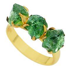 8.78cts natural green apatite (madagascar) 14k gold handmade ring size 8 t35014