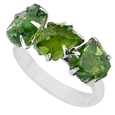8.84cts natural green apatite raw fancy sterling silver ring size 8.5 t7066