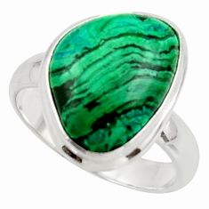 10.33cts natural green azurite malachite 925 silver ring size 8.5 r42463