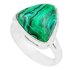 7.30cts natural green azurite malachite 925 silver solitaire ring size 6 t21491