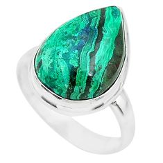 10.02cts natural green azurite malachite 925 silver solitaire ring size 7 t21494
