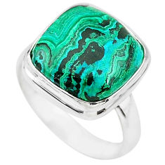 10.78cts natural green azurite malachite 925 silver solitaire ring size 7 t21499