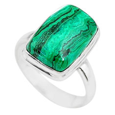 9.03cts natural green azurite malachite 925 silver solitaire ring size 8 t21496