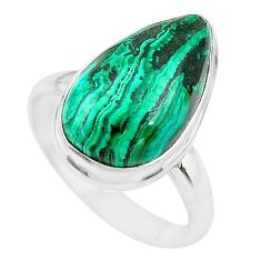 10.81cts natural green azurite malachite 925 silver solitaire ring size 9 t21495