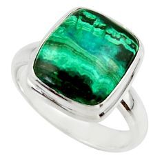 7.10cts natural green azurite malachite 925 sterling silver ring size 8.5 r42464