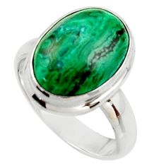 6.83cts natural green azurite malachite 925 sterling silver ring size 7 r34780