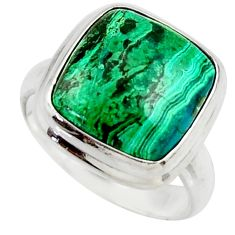 12.41cts natural green azurite malachite 925 sterling silver ring size 7 r42465